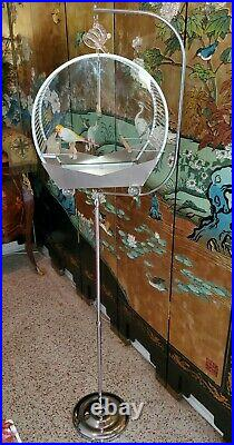 COLLECTOR ARNAULD 1952 COMPLETE ORIG BIRDCAGE FEED PERCH w GENYCAGE CHROME STAND