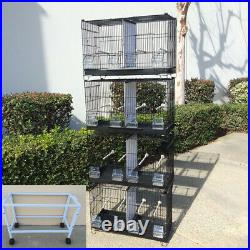 COMBO 4 Stack & Lock Double Breeding Bird Flight Cages Center Dividers WithStand