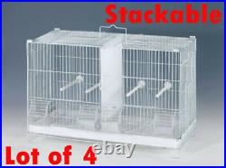 COMBO 4 Stack and Lock Double Bird Breeding Flight Cages Dividers Roll Stand
