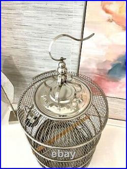 Canary Bird Cage 32 Stainless Steel Ornamented Chinese Porcelain Bowls