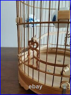 Chinese Oriental Round Shape Bamboo Wood Birdcage Display60038