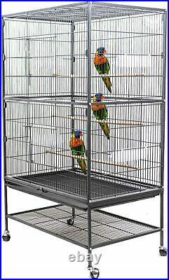 Display4top black large wrought iron breeding bird cage flight cage for cockatoo