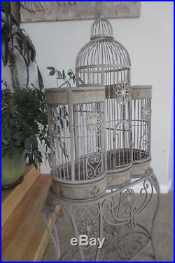 Exquisite Iron Bird Cage Victorian Dome Top Steeple with Base Table Vtg Sturdy