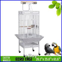 Extra Large Bird Cage Parrot Metal Macaw Playtop Finch Perch Cockatoo With Wheels