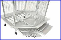 Extra Large Corner Bird Flight Cage Rolling Wheel For Cockatiel Parakeet Finches