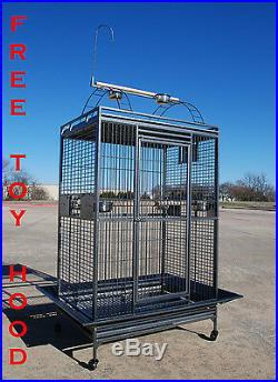 Extra Large Parrot Macaw Cockatoo African Grey IronCage WithToy Hood 36Wx28x70H
