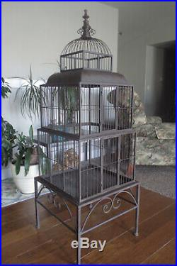 Grand Iron Vintage Bird Cage Victorian Dome Top 3 Stack Tiers on Base Table 5