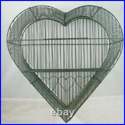 Heart Shaped Bird Cage 15 X 14 Metal Decoration