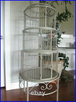 Huge Vintage Dome Top Iron Bird Cage 5' Round Stand Alone Base with Hanging Swing