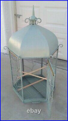 Incredible Antique Vintage Bird Cage With Steeple & Stand