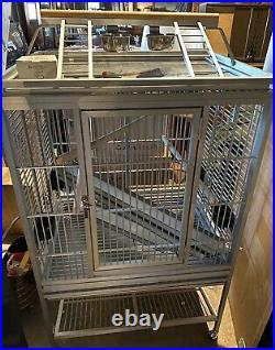 Kings Cage Large Aluminum Playpen Bird Cage On Stands and Wheels