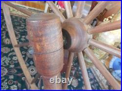 LARGE ANTIQUE WOODEN SPINNING WHEEL 66 L x 59 H with STOOL Primitives
