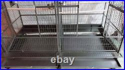 LARGE Double Macaw Parrot Cockatoo Bird Breeder Pet Cage with Divider Black Vein