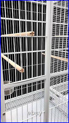 LARGE Double Macaw Parrot Cockatoo Bird Breeder Pet Cage with Divider Pure White