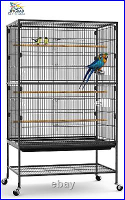 Large 132cm Rolling Portable Metal Bird Cage With Wheels Cockatoo Parrot Budgies