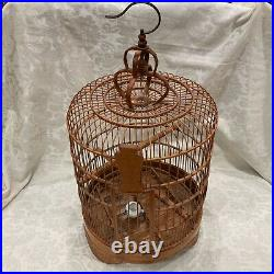 Large 27 x 14 Asian Bamboo Bird Cage With Feeder Carved Base Chinese Oriental