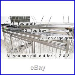Large 304 Stainless Steel Play Top Bird Cage Parrot Cage 44x32x69 FREE SHIPPING