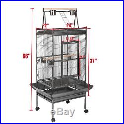 Large Bird 68 Parrot Cage Pet Supplies Iron Play Top Finch withStand Ladder Wheel