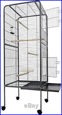Large Bird Cage Metal Aviary XXL On Wheels 4ft10' Birds House Silver Anthracite