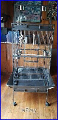 Large Bird Cage on wheels PlayTop Cockatiel Macaw Conure Aviary Congo Parrot