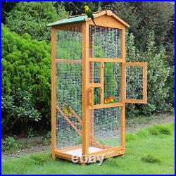 Large Birds Cage Wooden Animal Enclosure Outdoor Aviary Hutch Secure Pen House