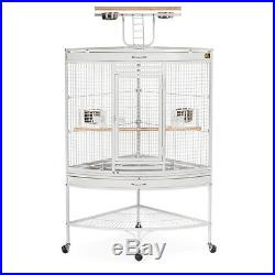 Large Corner Bird Cage Cockatiel Finch Parakeet Large Parrot Canary Stand White