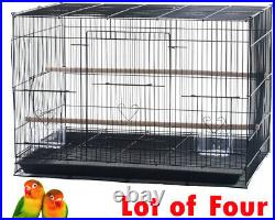 Large Lot of 4 Bird Flight Breeding Breeder Cages 30x18x18H With Rolling Stand