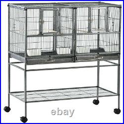 Large Metal Bird Cage Wheels Double Enclosure Tray Portable House Rolling Stand