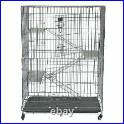 Large Metal Bird Cage Wheels Rolling Parrot Cockatoo Macaw Platform Ladder Stand