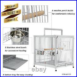 Large Metal Travel Bird Cage Parrot Canary Portable White Wrought Iron Carrier