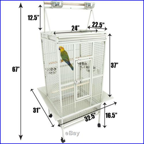 Large New Bird Cage Parrot Macaw African Grey Pet Cages Cockatiel 24x22x67