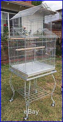 Large Pagoda Roof Top Lovebird Cockatiels Parakeets Bird Cage WithStand 106