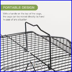 Large Parrot Finch Cage 60 Bird Two Doors Play Top Pet with Perch Stand Flat