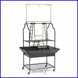 Large Parrot Playstand Open Cage Outdoor Indoor Birds Perches Center Activity