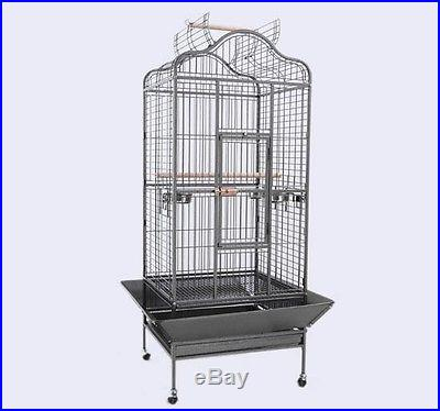 Large Play Top Bird Dometop Cage Aviary Cockatiel Parakeet w/ Stand Feeder Bowls