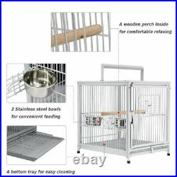 Large Travel Bird Cage Metal Portable Parrot Pet Transport Carrier Heavy Duty 22
