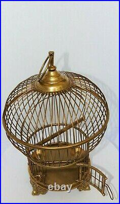Large Vintage Solid Brass Bird Cage Swing Perch 2 Feeders Hand Made