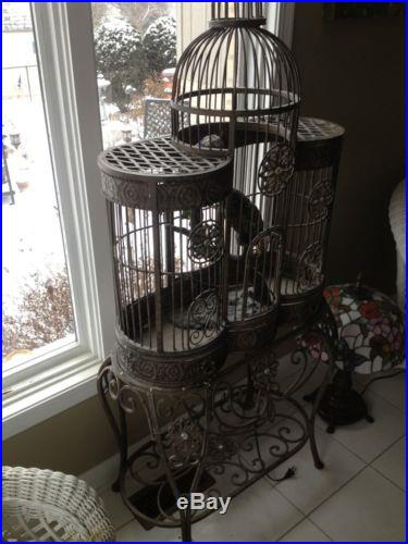 Large Vintage Tuscan Style Wrought Iron Bird Cage Dometop Brown