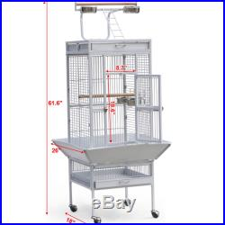 Large White Parrot Cage Bird Cockatiel Parakeet Finch Playtop Gym Perch Stand