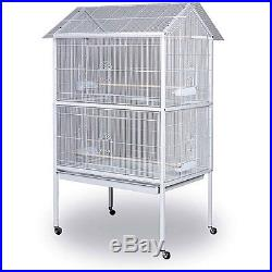 Large White Standing Bird Cage Metal Aviary Flight Cages W Stand Pet Supplies