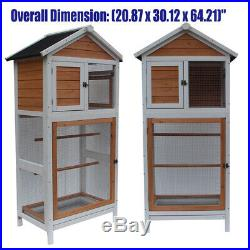 Large Wooden Bird Cage Parrot Cockatiel Macaw Walk In Aviary Play Top Pet House