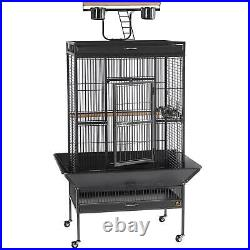 Large Wrought Iron Cockatiel Parrot Select Bird Cage with Wheeled Stand, Play Top