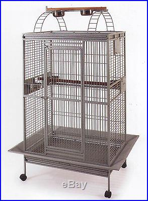 Large Wrought Iron Open Play Top With Double Ladders Parrot Macaw Bird Cage-283