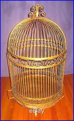 Lg VTG Ornate Victorian Wrought Iron Bird Cage Domed Beehive Cottage Garden