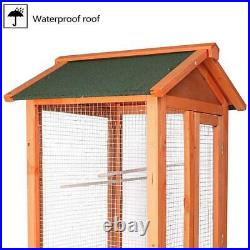 Lonabe Bird Cage Pet Play Large Wooden House Aviary Stand Stairs Parakeets Finch