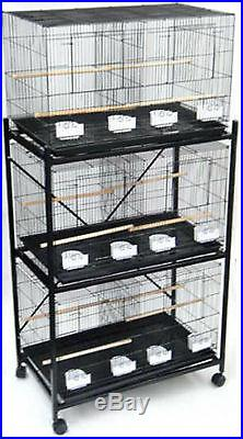 Lot of 3 Bird Breeding Cage 30x18x18 WithDivider WithStand 3 X 2463 & 4163 412
