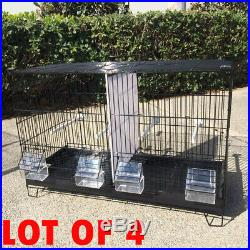 Lot of 4 Stackable Double Bird Breeding Flight Cages Dividers WithRolling Stand