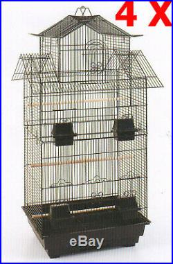 Lot of 4 of 40 Large Roof Top Canary Parakeets Cockatiel Budgies Bird Cage 250