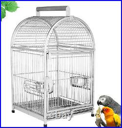 Luxury Stainless Steel Portable Travel Bird Parrot Perch Cage Stand Carrier