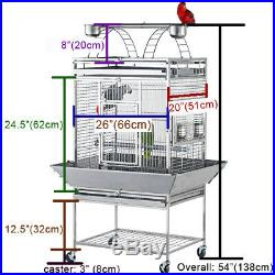 Medium 304 Stainless Steel Play Top Bird Cage Parrot Cage 26x 20x 54